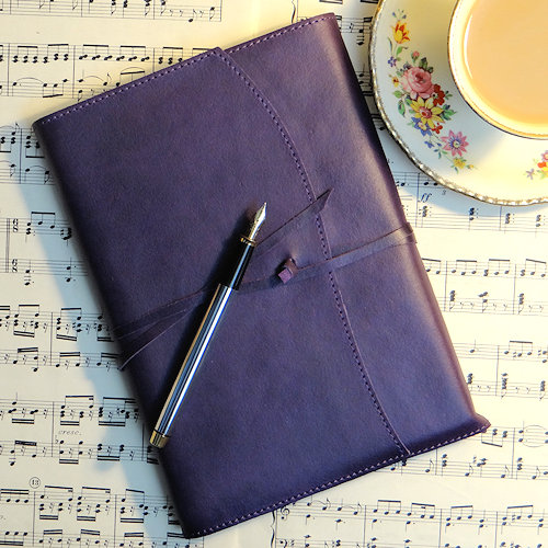 Aubergine colour Italian leather bound journal
