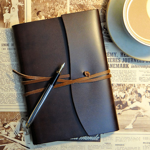 Deep brown colour recycled leather journal