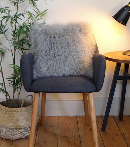 Light Grey Mongolian Cushion