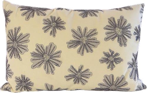 Pale Lemon Beaded Cushion