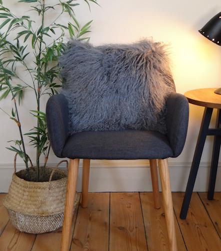 Slate Grey Mongolian Cushion