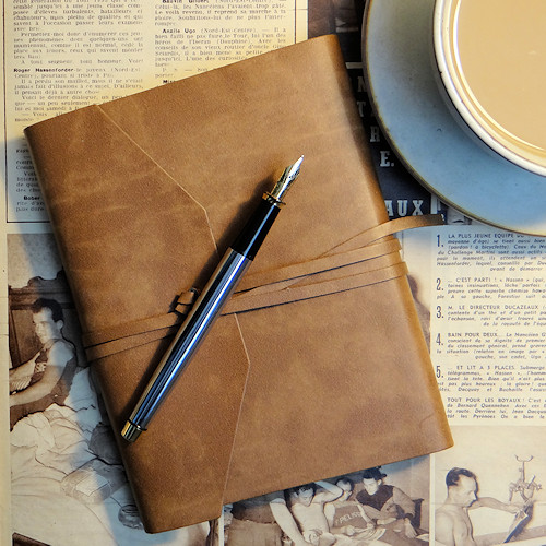 Tan colour recycled leather journal
