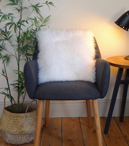 White Mongolian Cushion