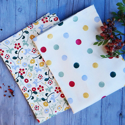 Emma Bridgewater Floral and Polka Dot pattern tea towels