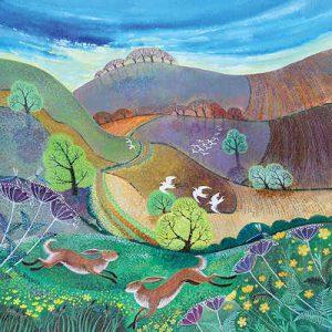 Downland Hares by Lisa Graa Jensen