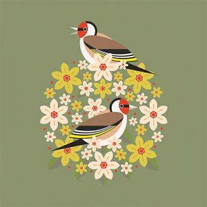 Goldfinch & blooms by Stuart Cox