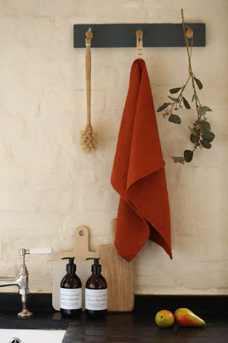 Baked clay pure linen tea towel