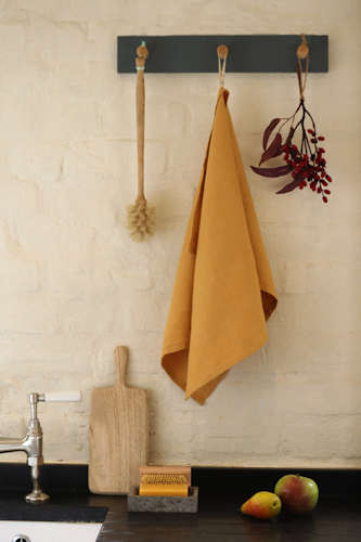 Mustard pure linen tea towel