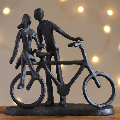 Couple with Bike Statuette