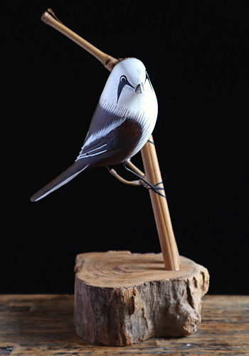 Bearded Tit Wooden Sculpture