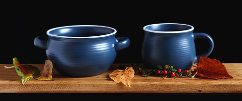 Blue Earthenware Soup Bowl and Mug.