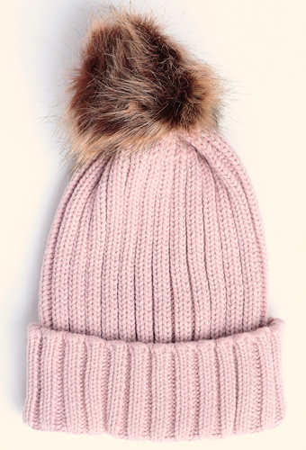 Blush Ribbed Bobble Hat
