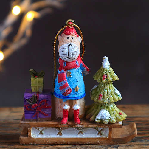 Cat on a Sleigh Christmas Decoration