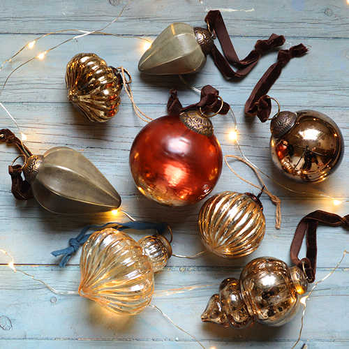 Gold, Amber and Soft Grey Baubles