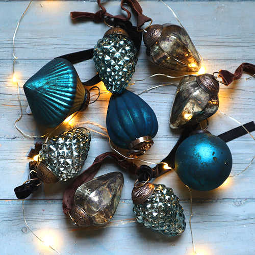 Teal and Antique Silver Baubles