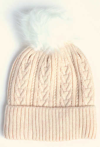 Ecru Cable Knit Bobble Hat
