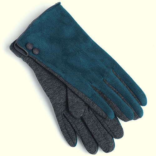 Faux Suede Teal Gloves