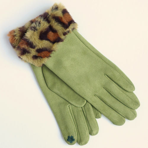 Green Faux Suede Gloves