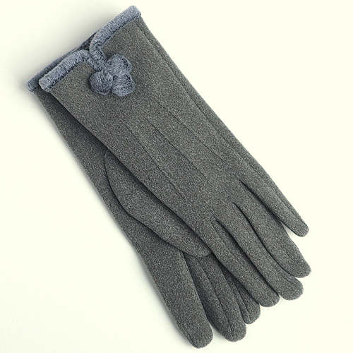 Grey PomPom Gloves