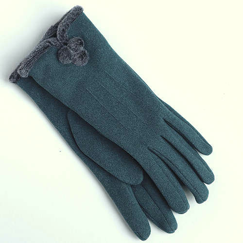 Teal PomPom Gloves