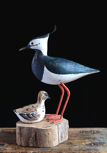Lapwing & Chick Wooden Sculpture