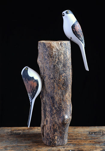 Longtailed Tits Wooden Sculpture