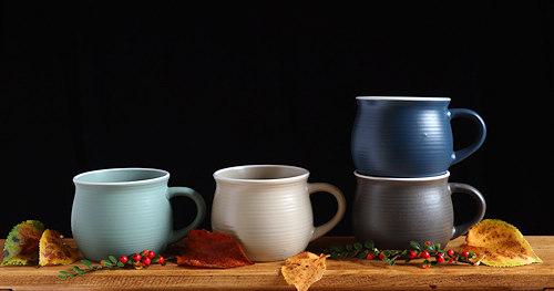 Earthenware mugs.