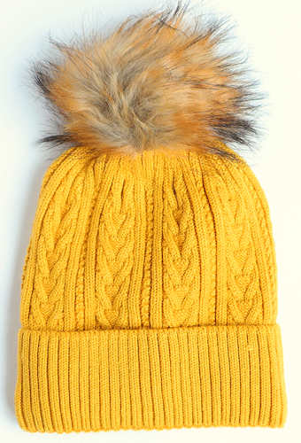 Mustard Cable Knit Bobble Hat