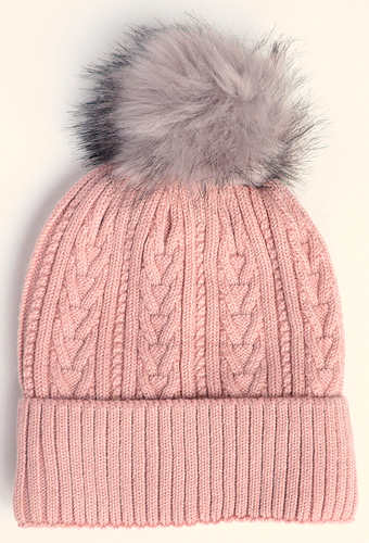Pink Cable Knit Bobble Hat