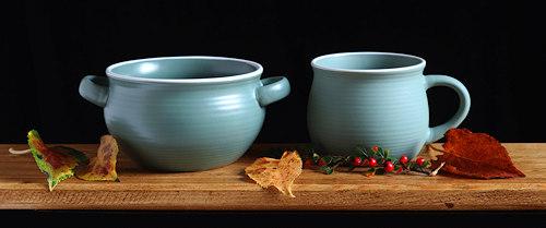 Sea Green Earthenware Soup Bowl and Mug.