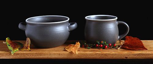 Slate Earthenware Soup Bowl and Mug.