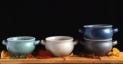 Earthenware soup bowls.
