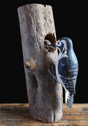 Woodpecker Wooden Sculpture