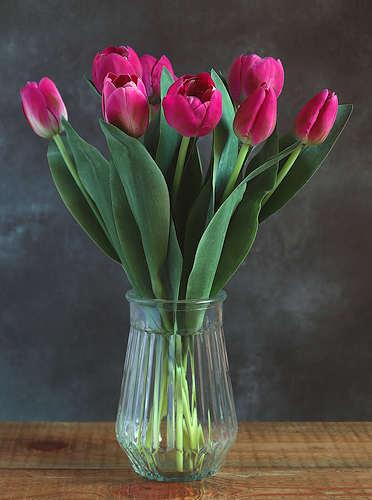 Dark Pink Tulips Faux Flower Bouquet