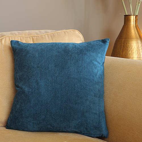 Teal Blue Chenille Cushion