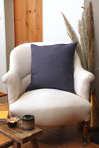 Dark Grey Linen Cushion