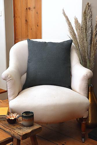 Forest Green Linen Cushion
